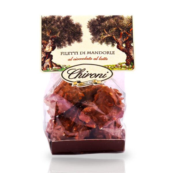 filetti di mandorle tostate al forno caramellate cioccolato al latte chironi prodotti tipici salento acquistare on line