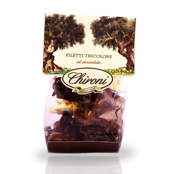 filetti di mandorle tostate al forno caramellate cioccolato al latte bianco fondente chironi prodotti tipici salento acquistare on line