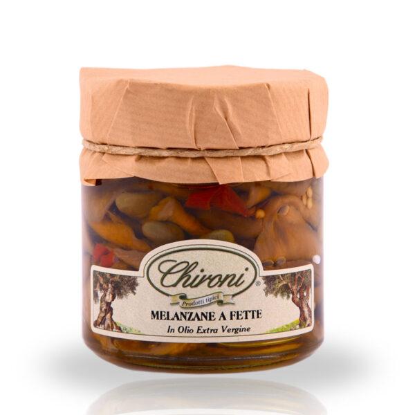 Melanzane a fette 230 g chironi prodotti tipici salento acquistare on line prezzo prima scelta croccanti spezziate leggermente piccanti in olio extra vergine di oliva
