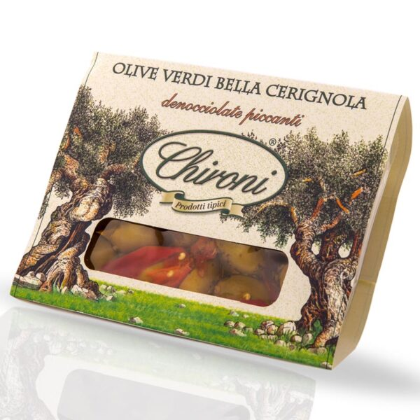 Olive verdi bella cerignola denocciolate piccanti 260 g chironi prodotti tipici salento acquistare on line prezzo