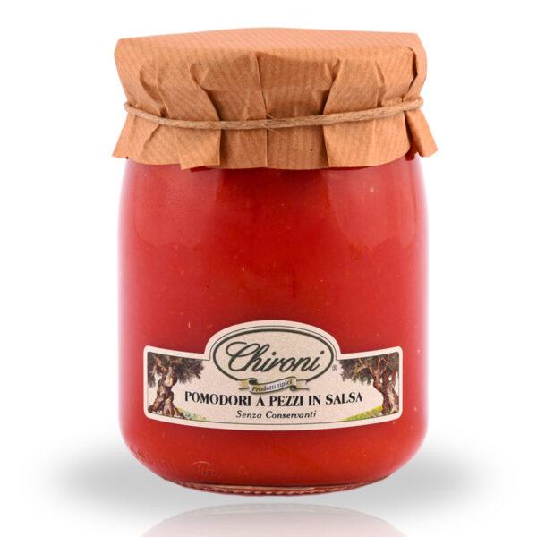 Pomodori a pezzi in salsa di pomodoro 530 g chironi prodotti tipici salento acquistare on line prezzo prima scelta senza conservanti