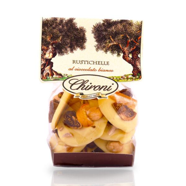 Rustichelle cioccolato bianco frutta secca in superficie fichi mandorle arancio nocciola pistacchio chironi prodotti tipici salento acquistare on line prezzo