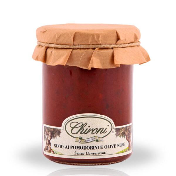 Sugo pomodorini ciliegino olive nere 180 g chironi prodotti tipici salento acquistare on line prezzo