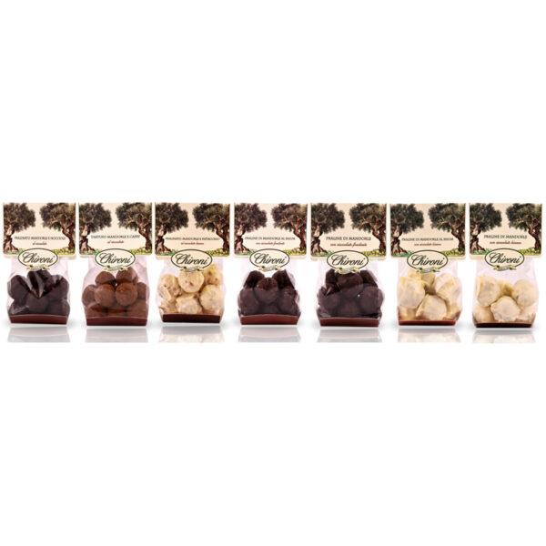 Praline Chironi prodotti tipici salento acquistare on line prezzo mandorle nocciole tartufo caffe pistacchio rum cioccolato fondente e bianco