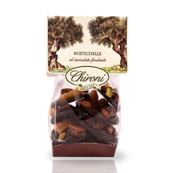 Rustichelle cioccolato fondente frutta secca in superficie fichi mandorle arancio nocciola pistacchio chironi prodotti tipici salento acquistare on line prezzo