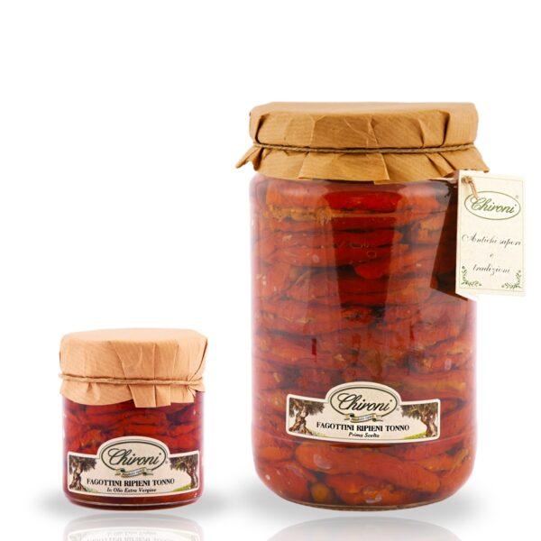 fagottini ripieni tonno 230 g 1600 g HO.RE.CA. pomodori san marzano essiccati al sole chironi prodotti tipici salento acquistare on line prezzo HO.RE.CA. sottolio